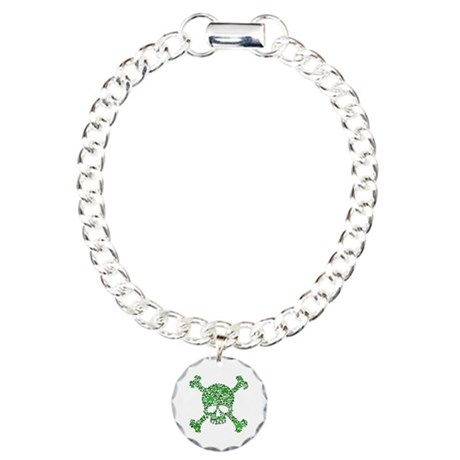 Irish Shamrock Crossbones Charm Bracelet, One Char