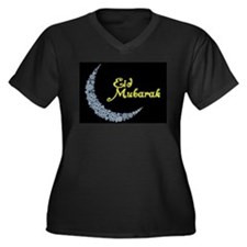 Eid Mubarak Women's Plus Size V-Neck Dark T-Shirt