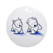 Shadowboxing Westies Ornament (Round)