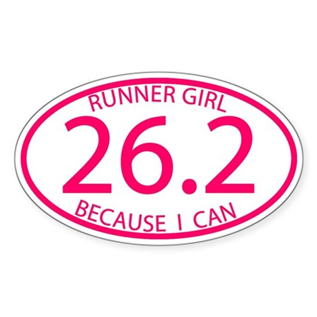 26.2 Runner Girl Because I Can Sticker (Oval)