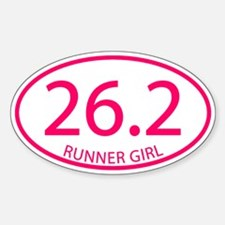 26.2 Runner Girl Marathon Sticker (Oval)