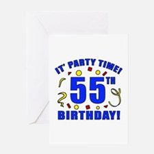 55th Birthday Party Time Greeting Card