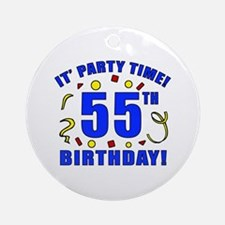 55th Birthday Party Time Ornament (Round)
