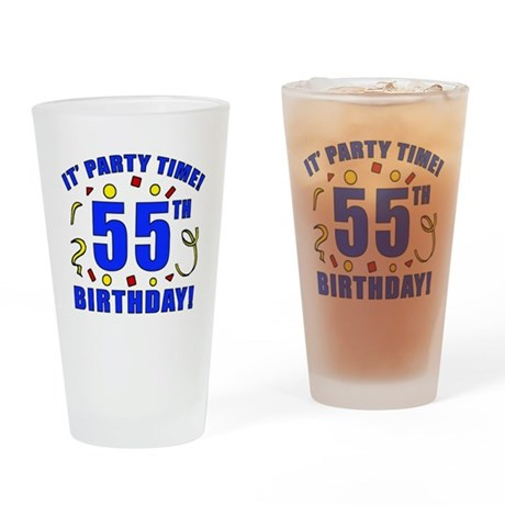 55th Birthday Party Time Drinking Glass