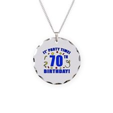 70th Birthday Party Time Necklace Circle Charm