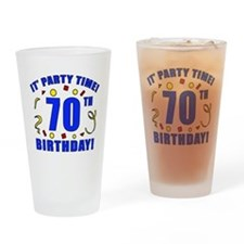 70th Birthday Party Time Drinking Glass