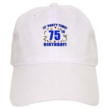 75th Birthday Party Time Baseball Cap