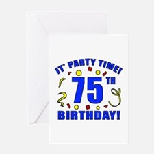 75th Birthday Party Time Greeting Card