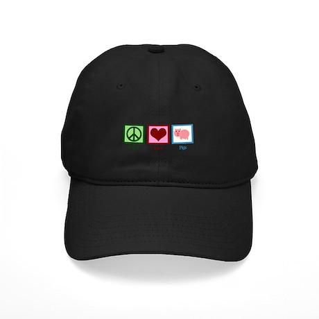 Peace Love Pigs Black Cap
