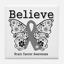 Believe Brain Cancer Tile Coaster