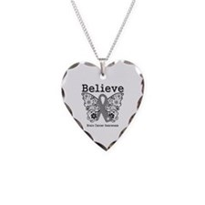 Believe Brain Cancer Necklace Heart Charm