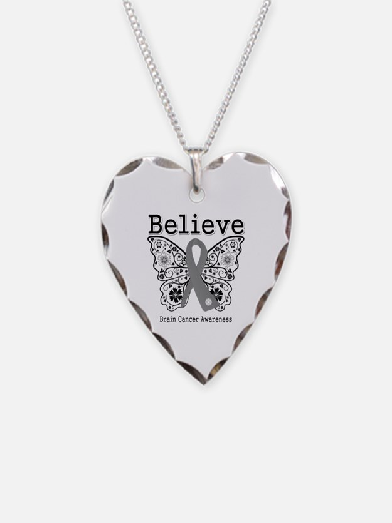 Believe Brain Cancer Necklace Heart Charm