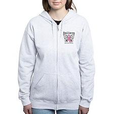 Believe Breast Cancer Zip Hoodie