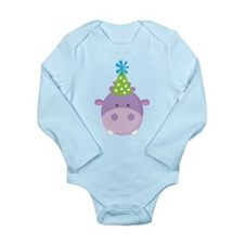 Birthday Hippo Long Sleeve Infant Bodysuit