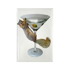 Martini Squirrel Rectangle Magnet