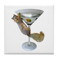 Martini Squirrel Tile Coaster