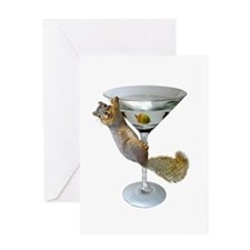 Martini Squirrel Greeting Card