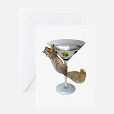 Martini Squirrel Greeting Card