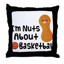 Nuts About Basketball Throw Pillow