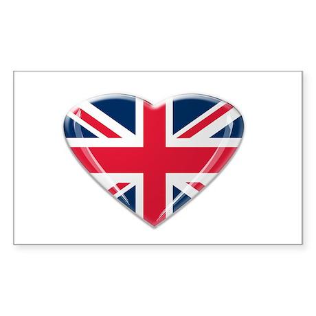 Heart shaped Union Jack Sticker (Rectangle)