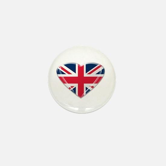 Heart shaped Union Jack Mini Button