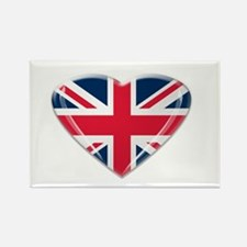 Heart shaped Union Jack Rectangle Magnet (10 pack)