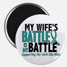 """My Battle Too Ovarian Cancer 2.25"""" Magnet (100 pac"""