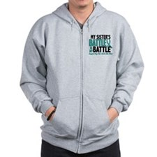 My Battle Too Ovarian Cancer Zip Hoodie