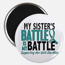 "My Battle Too Ovarian Cancer 2.25"" Magnet (10 pack"