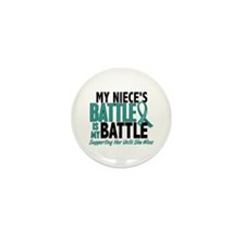 My Battle Too Ovarian Cancer Mini Button (10 pack)