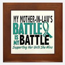 My Battle Too Ovarian Cancer Framed Tile