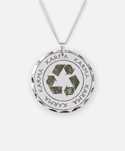 Vintage Karma Necklace Circle Charm