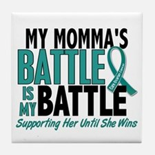 My Battle Too Ovarian Cancer Tile Coaster