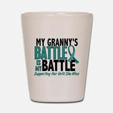My Battle Too Ovarian Cancer Shot Glass
