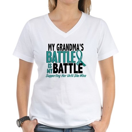 My Battle Too Ovarian Cancer Women's V-Neck T-Shir