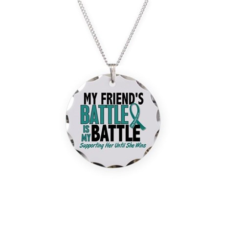 My Battle Too Ovarian Cancer Necklace Circle Charm