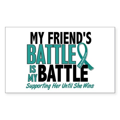 My Battle Too Ovarian Cancer Sticker (Rectangle)