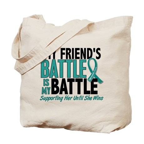 My Battle Too Ovarian Cancer Tote Bag