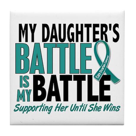 My Battle Too Ovarian Cancer Tile Coaster