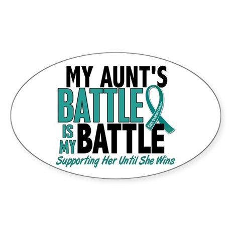 My Battle Too Ovarian Cancer Sticker (Oval)