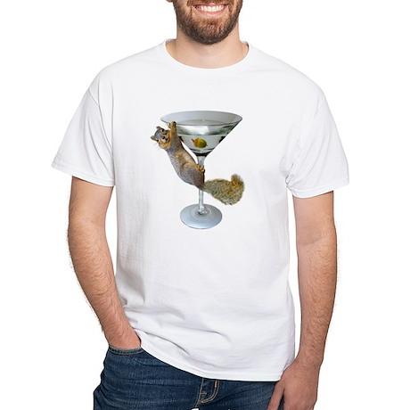 Martini Squirrel White T-Shirt