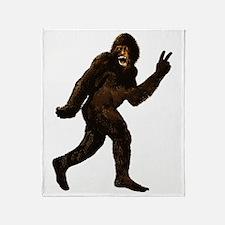 Bigfoot Yeti Sasquatch Peace Throw Blanket