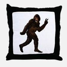 Bigfoot Yeti Sasquatch Peace Throw Pillow