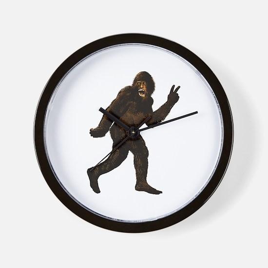 Bigfoot Yeti Sasquatch Peace Wall Clock