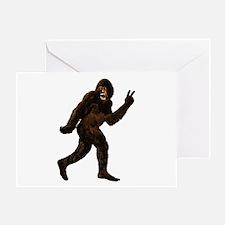 Bigfoot Yeti Sasquatch Peace Greeting Card