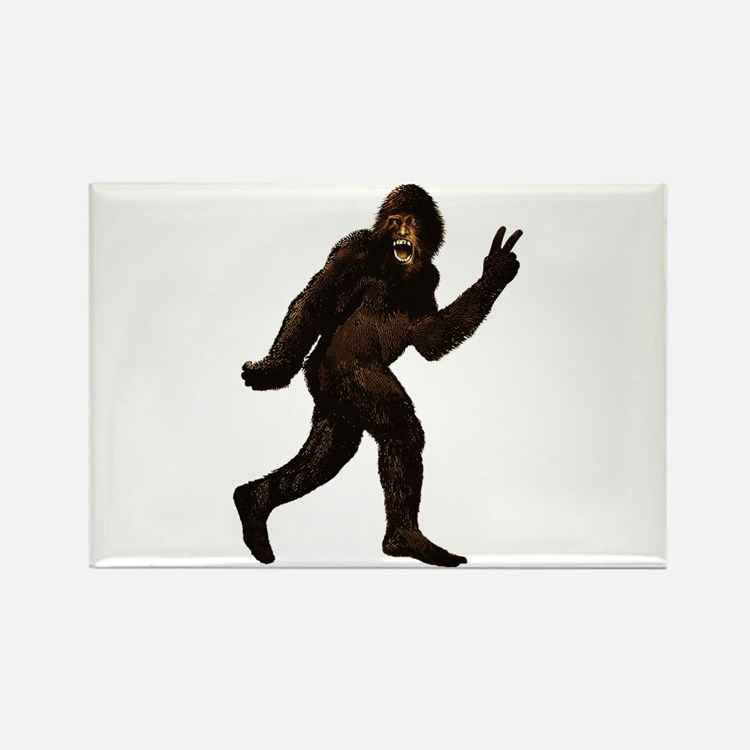Bigfoot Yeti Sasquatch Peace Rectangle Magnet