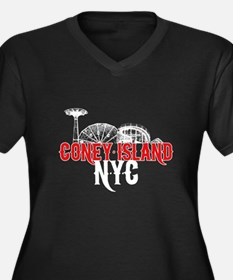 Coney Island NYC Women's Plus Size V-Neck Dark T-S