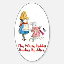 Alice and the White Rabbit Sticker (Oval)