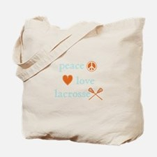 Peace, Love and Lacrosse Tote Bag