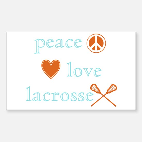 Peace, Love and Lacrosse Sticker (Rectangle)